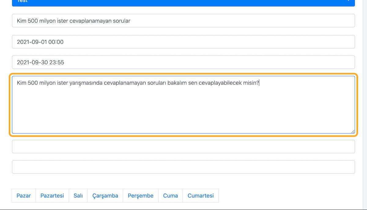 Açıklama kutusuna, kullanıcılara daha detaylı bilgi vermek için bir açıklama yazın.