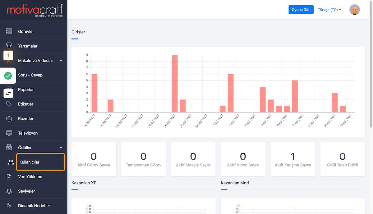 Motivacraft platformuna, Yönetici hesabınızı kullanarak girişyapın ve yönetim paneline geçiş yapın.