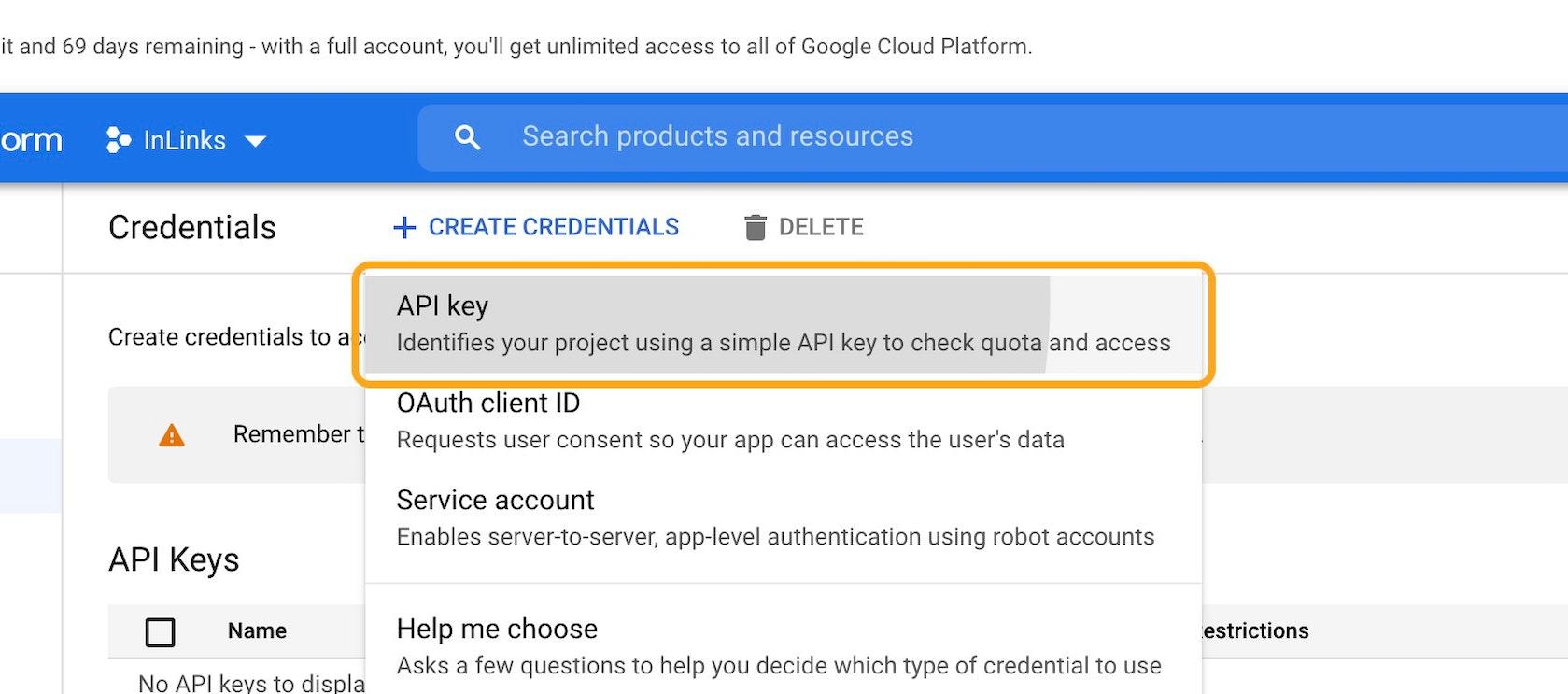 Click on API key