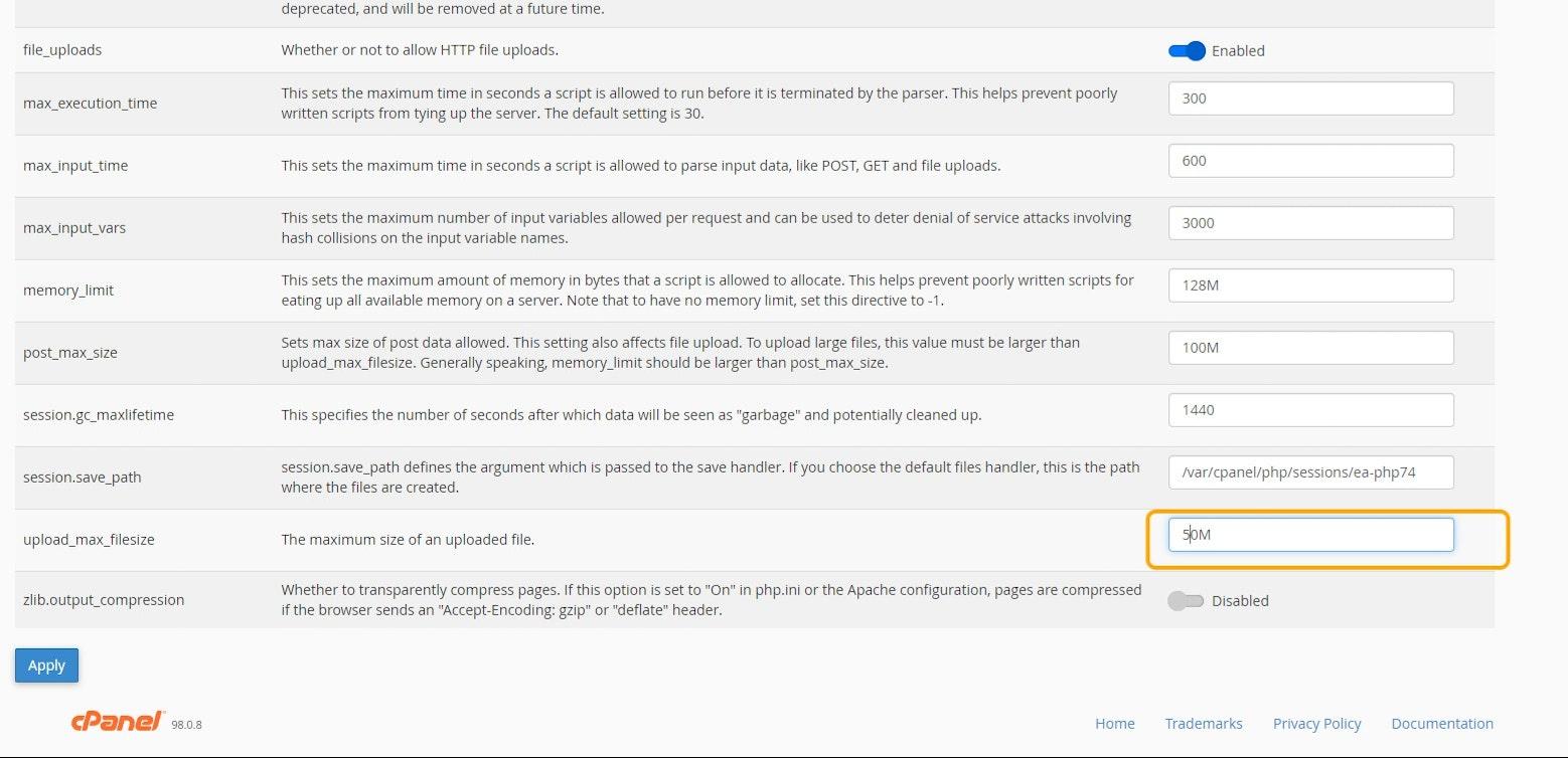 เปลี่ยนค่า upload_max_filesize ตามที่ต้องการ