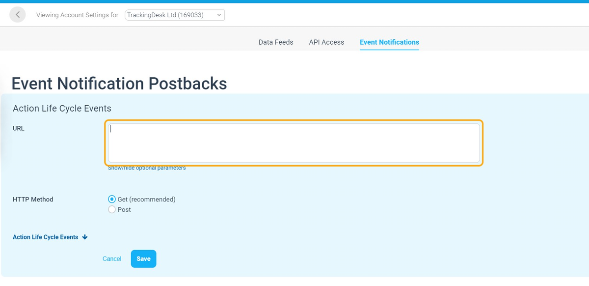 Paste the Impact Postback URL into URL field