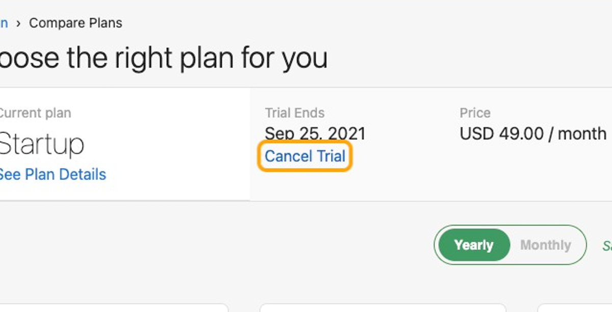 Click on Cancel Trial