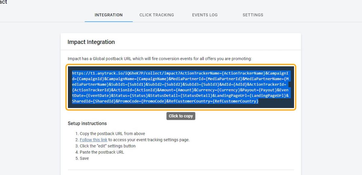 Copy the Impact Postback URL