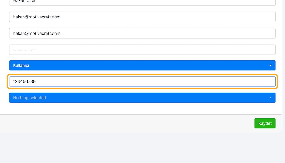 Kullanıcıyı organizasyonunuz içinde tanımlayan özgün kimlik numarasını girin.