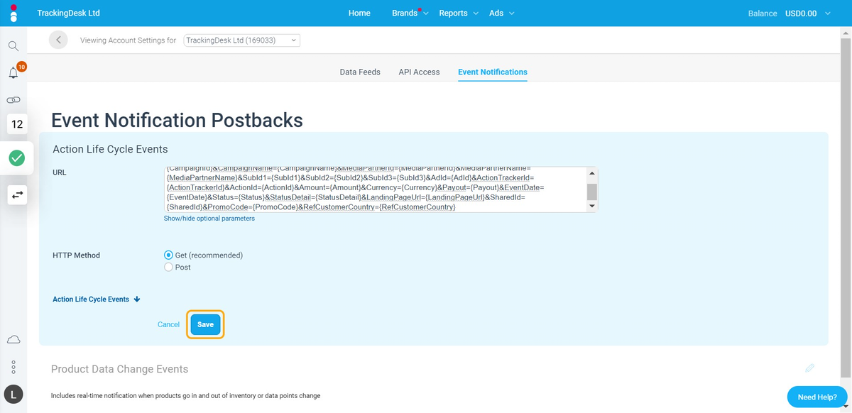 Then Save the Impact Postback URL settings